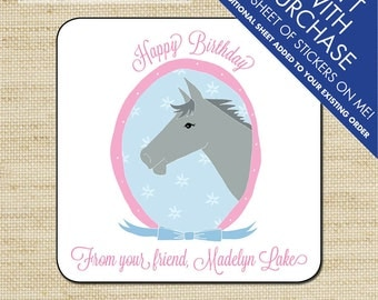 Kids Gift Label, Gift Tags, Birthday Stickers, Personalized Labels, Personalized Gift Stickers, Horse
