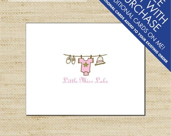 Baby Girl Thank You Cards, Beach Baby Clothes Line, Printed Thank You Cards, Baby Shower Thank You Cards, Eco Friendly