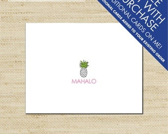 Mahalo Pineapple Thank You Cards, Hawaiian Note Cards, Folded Notecards, Can Be Personalized