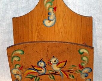 Vintage Wooden Birds Note Holder Handpainted