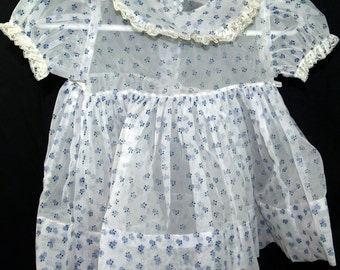 Toddler or Baby Girls dress white nylon blue dotted Swiss vintage 1950s