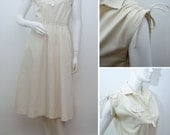 Vintage Dress Cream Cotton Blend RETRO 70s Midi Day Dress Summer Sun Dress Neutral Shirt Waist 1970s Size Small XS UK 8