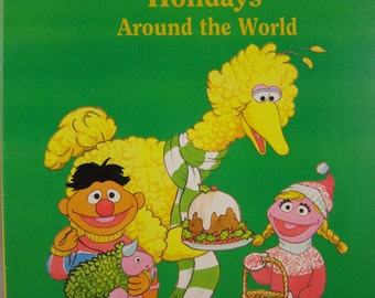 Sesame Street's Holidays Around the World giant coloring book, vintage