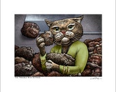 The Trouble With Kittehs-  8 x 10 signed print Star Trek- Captain Kirk with Tribbles as Kittens
