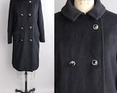 vintage 1950s baby llama wool coat | vintage black wool winter coat | double breasted peacoat | s-m