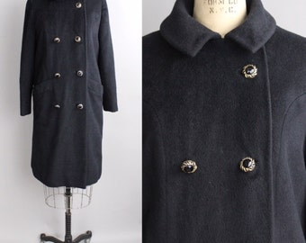 Vintage 1950s llama Wool Coat | 1950s Black Wool Winter Coat | Double Breasted Peacoat | S - M