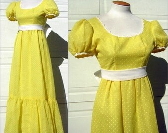 Vintage Party Dress Formal 70s Daffodil Yellow White Polka Dots Daisy Lace - Lorrie Deb - XS