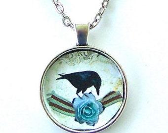 Black Raven Victorian Style Blue Rose Flower Crow Bird Art Glass Pendant