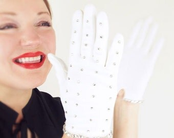 Vintage Rhinestone Studded White Gloves by Hansen S - Size 6