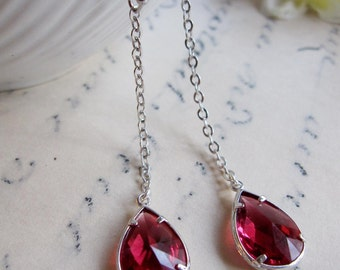 Red Teardrop Earrings, Long Dangle Earrings, Silver Earrings, Ruby red, Bridesmaid Earrings, wedding jewelry