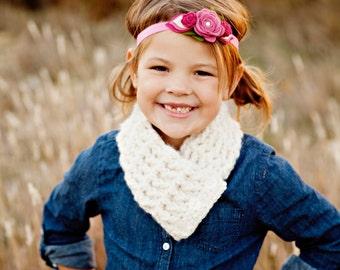 Kids Scarf Girls Scarf Boys Scarf Kids Scarflette Girls Scarflette Boys Scarflette Cream Scarf Cream Scarflette Crochet Scarf Button Cowl
