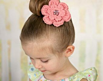 Pink Hair Clip Crochet Flower Hair Clip Flower Barrette Pink Barrette Spring Hair Clip Summer Hair Clip Baby Hair Clip French Barrette