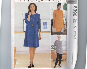 1990s Sewing Pattern McCalls 8396 Easy Dress Tunics Pull on Pants Skirt Size 8 10 12 14 BUST 31 32 34 36 UNCUT