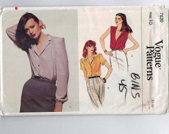 1980s Vintage Sewing Pattern Vogue 7630 Misses Button Front Deep Vee Neck Blouse Size 10 Bust 32 1/2 80s  99