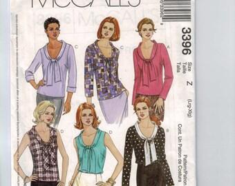 Misses Sewing Pattern McCalls 3396 Misses Tie Neck Scoop Neck Blouse Top Shirt Multisize Size 4 6 8 10 12 14 16 18 20 22 UNCUT