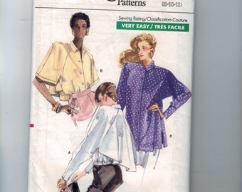 1980s Vintage Sewing Pattern Vogue 7223 Misses Easy Blouse Top Easy Top Size 8 10 12 Bust 31 1/2 32 1/2 34 80s 1988  99