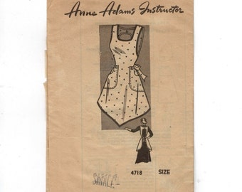 1950s Vintage Sewing Pattern Mail Order Anne Adams 4718 Apron Smock Size Small 14 16 Bust 32 34 50s  99