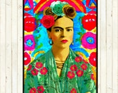 Frida Kahlo Retro Art Print Boho Instant Digital Download Small t Poster Vintage Modern Home Deco Aqua Blue Red Black Best Selling Items