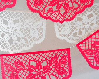 POINSETTIA Christmas garland, papel picado