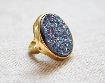 Galaxy Glam Large Purple Druzy Round Ring
