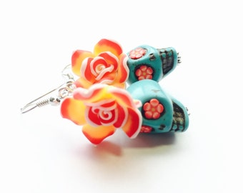 Sugar Skull Earrings Red Yellow Turquoise Day of the Dead Roses and Skull Jewerly