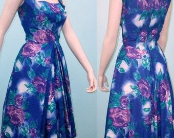 1950s Dress . Purple Floral Print Sundress . Harvey Berin Designed by Karen Stark . XS S