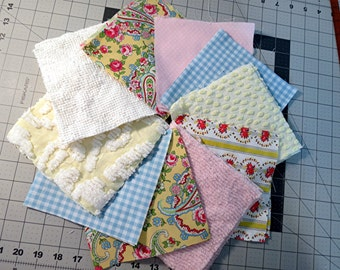 Shabby Chic Pink Yellow Blue White 6 inch Squares - Vintage Chenille,  Cottage Cotton Quilt Fabric Blocks - Sale