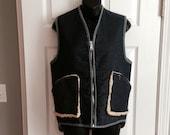 Vintage 1970s sherpa denim vest
