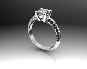 Diamond Engagement Ring, 1 1/2 Carat Diamond in Triangular Band with White and Black Diamond Accents