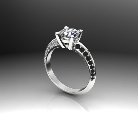 Diamond Engagement Ring, 1 1/2 Carat Diamond in Triangular Band with White  and