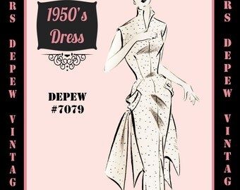 Vintage Sewing Pattern 1950's Coctail Dress in Any Size - PLUS Size Included - Depew 7079 -INSTANT DOWNLOAD-