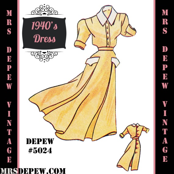 1940s Sewing Patterns – Dresses, Overalls, Lingerie etc  1940s Apron Dress in Any Size - PLUS Size Included - Depew 5024 -INSTANT DOWNLOAD- $8.50 AT vintagedancer.com