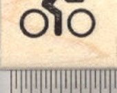 Tiny Bicycle Rider Rubber Stamp, .5 inch, Mark your Calendar or Activity Log A27423 Wood Mounted