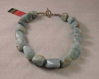 Chunky Amazonite Nugget Necklace with Silver Details