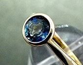 7mm  Round Natural London Blue Topaz 1.47cts in 14K yellow gold  Engagement ring.