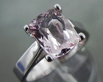 AAAA Natural Pink Morganite Untreated   10x8mm  3.40 Carats   in 14K white gold ring and available in yellow gold 1100