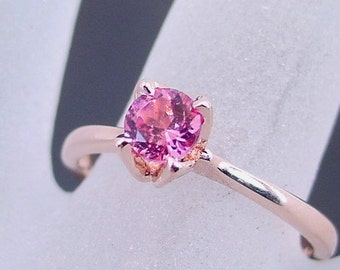 Pink Tourmaline Solitaire Round Natural 5mm in 14K Rose gold  Available in all Tourmaline colors MMM