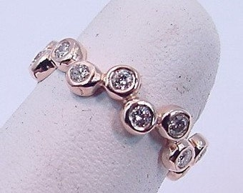 Custom 14K Rose gold Stackable Diamond anniverary eternity band  .60 CT TW
