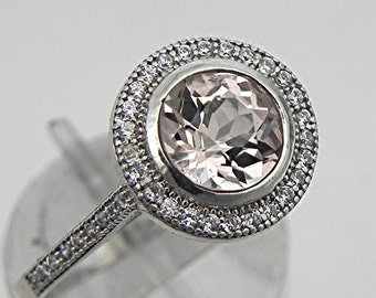 AAA Round Peach Colored Morganite 6.5mm  1.05 Carat 14K White gold and diamond Halo ring 0107 y