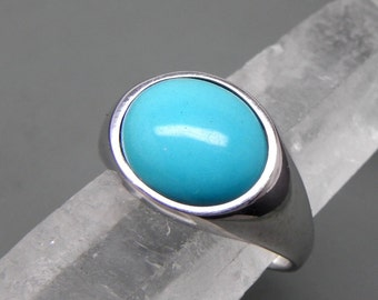 AAAAA Sleeping Beauty Turquoise Cabochon from Arizona   12x10mm  3.40 Carats   in 14K white gold ring.  1352