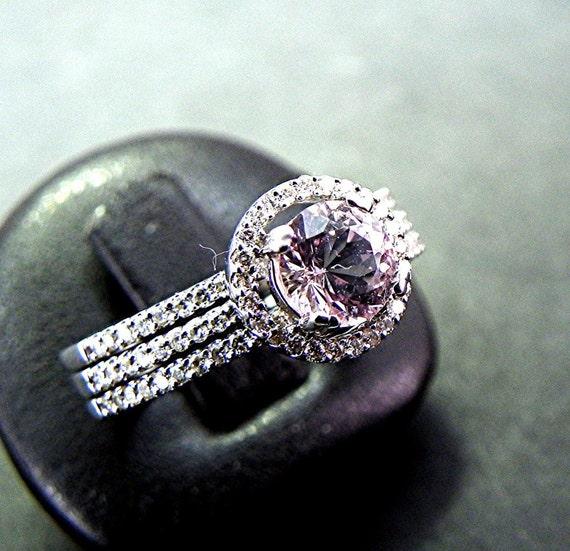 AAAA Round Natural Morganite .76 Carat 6.2mm in 14K White gold diamond bridal set(.75ct)