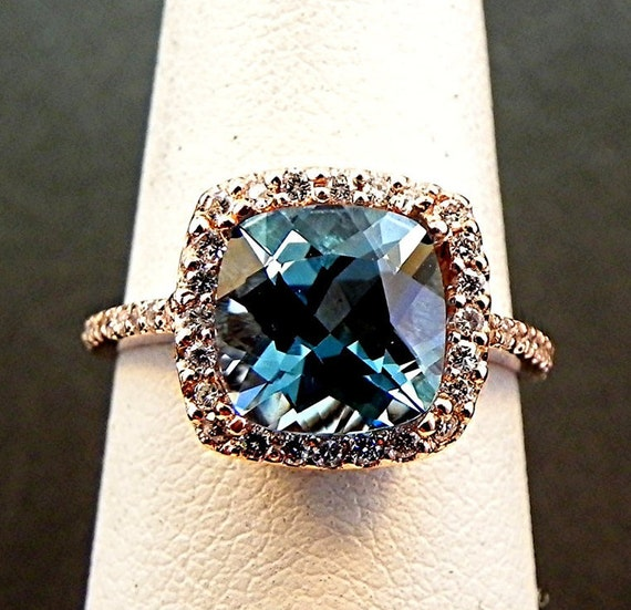 AAA Natural Cushion cut London Blue Topaz 8x8mm in 14K Rose gold Halo ring with .30 carats of diamonds 1204 H88 MMM