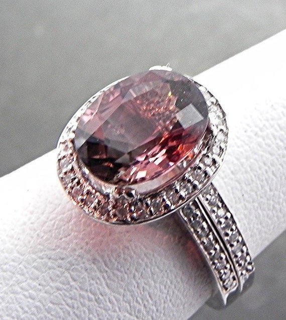 AAAA Watermelon Tourmaline 3.08 Carat 10x8mm Very Rare set in 14K White gold diamond bridal set(.50ct) 0973 B108