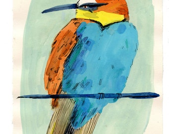 Teal, yellow, brown bird, painting on paper