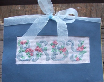 Handmade Baby Cross Stitch Card - 5.5in x 8.5in