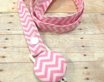 Pink Chevron Lanyard Fabric Lanyard with Retractable Badge Reel - ID Badge Holder