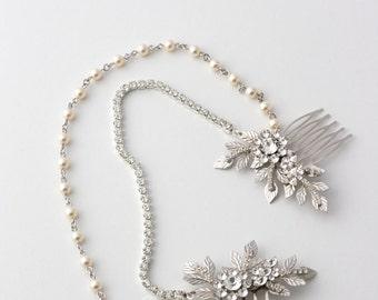 Bridal Headpiece Hair Chain Wedding Hair Accessory Leaf Hair Piece Swarovski Crystal Pearl Head Chain JESSICA HP