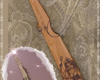 "Wand Witch Wiccan Wicca Wizard Pagan ""Faerie Godmother"" Cedar Wood OOAK"