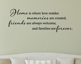 Wall Quote Decal Home is Where Love Resides Home Family Love Vinyl Decal