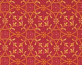 SALE Grid Ironwork Sunset Fabric 1 yard